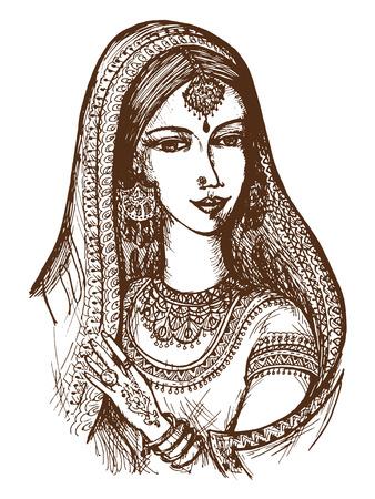 bollywood: dibujados a mano, dibujos animados, ilustraci�n boceto de la India
