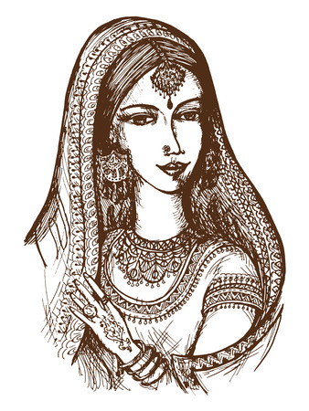 hand drawn, cartoon, sketch illustration of Indian Vector