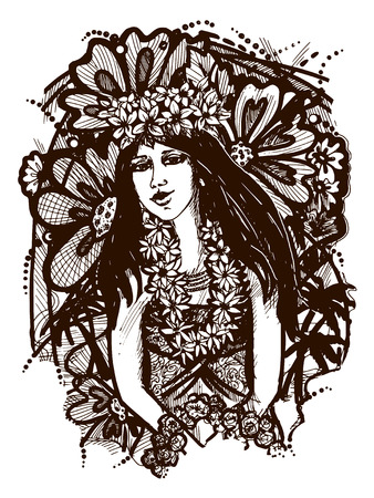 vector graphic, artistic, stylized image of Tahitian girl Vector