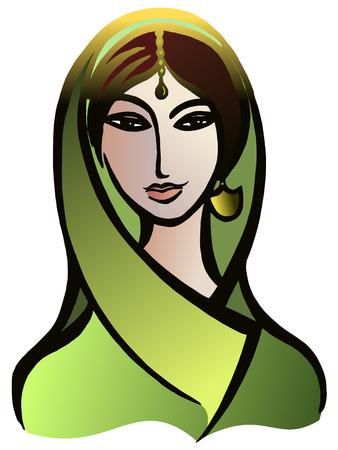 Vector gráfico, artístico, imagen estilizada de la mujer india en un sari