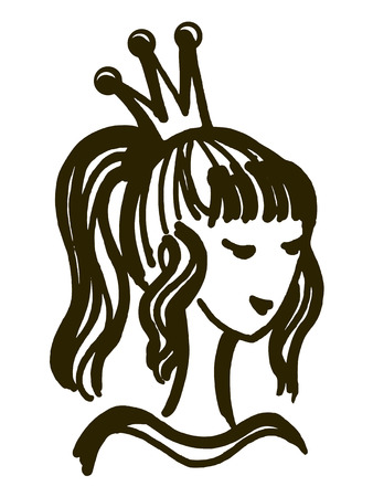 beauty queen: hand drawn, cartoon, sketch illustration of princess, beauty queen