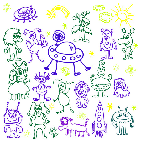 hand drawn, cartoon, sketch illustration of monsters 일러스트