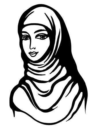 jewess: hand drawn, cartoon, sketch illustration of Muslim girl