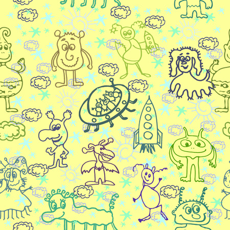 Alien Happy Cute Monsters Seamless Pattern Background Vector