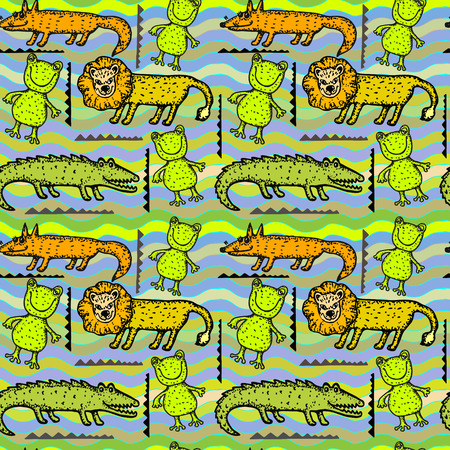 stylized image of animal decorative seamless pattern Vector