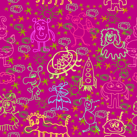 newcomer: Vector graphic, artistic, stylized image of Alien Happy Cute Monsters Seamless Pattern Background Illustration