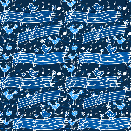Vector graphic, artistic, stylized image of seamless pattern with musical notes and birdsong Vector