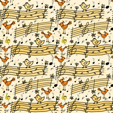 birdsong: Vector graphic, artistic, stylized image of seamless pattern with musical notes and birdsong