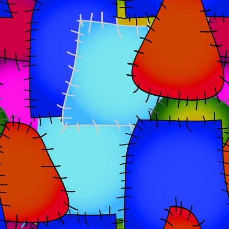 homespun: Vector gr�fico, art�stico, imagen estilizada de imagen Modelo incons�til remiendo de la tela decorativa con
