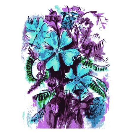 ramo de flores: dibujado a mano, de la historieta, ilustraci�n boceto de la acuarela florece el ramo