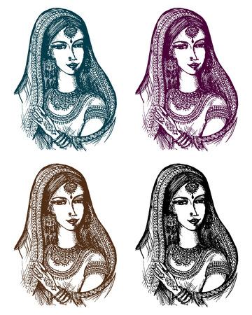 Vector gráfico, artístico, mano dibujada, dibujo animado, ejemplo esbozo de la India Ilustración de vector