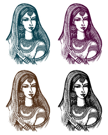 east indian: Vector graphic, artistic, hand drawn, cartoon, sketch illustration of Indian Illustration