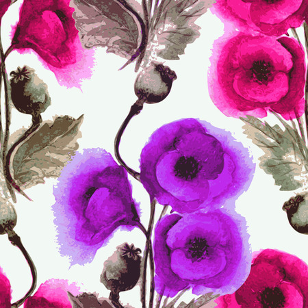 Vector graphic, artistic, stylized image of seamless pattern watercolor poppies Vector