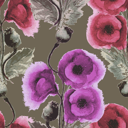 opium: Vector graphic, artistic, stylized image of seamless pattern watercolor poppies