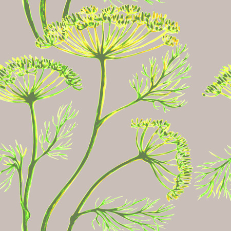 Vector graphic, artistic, stylized image of seamless pattern watercolor sprigs of greenery, Dill, Fennel