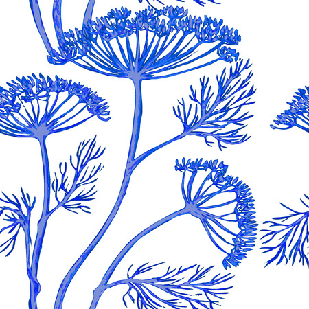 dill: Vector graphic, artistic, stylized image of seamless pattern watercolor sprigs of greenery, Dill, Fennel
