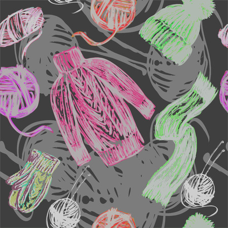 Vector graphic, artistic, stylized image of seamless pattern knitted things and skeins of thread Illustration