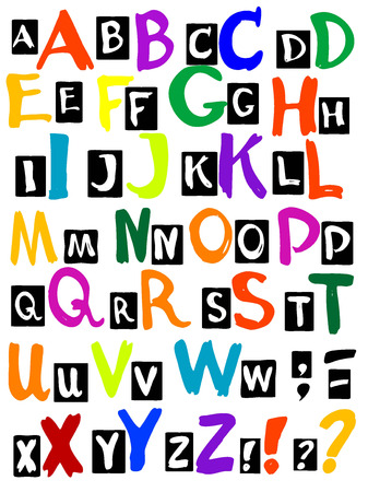 Vector graphic, artistic, stylized image of letters of the alphabet Vector