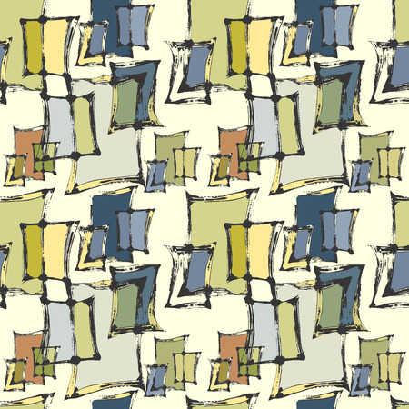 Vector graphic, artistic, seamless pattern with the image of stylized picture windows under the paint Illustration