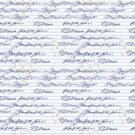 scribe: Vector graphic, artistic, seamless pattern with handwriting text   with hearts - Illustration Illustration