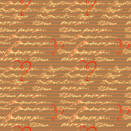 shorthand: Vector graphic, artistic, seamless pattern with handwriting text   with hearts - Illustration Illustration