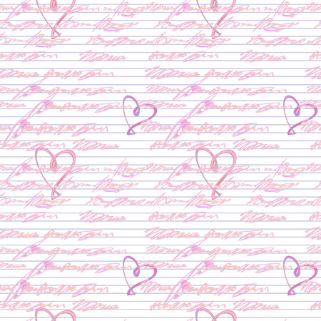 Vector graphic, artistic, seamless pattern with handwriting text   with hearts - Illustration Illustration