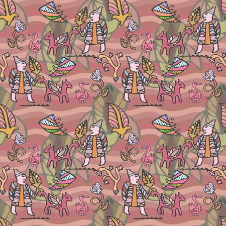 ethnics: Vector graphic, artistic, stylized image of ethnic decorative seamless pattern