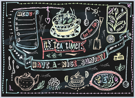 tea set: Vector graphic, artistic, stylized image of Tea set graphic element for menu on blackboard. Black chalkboard with chalk traces.