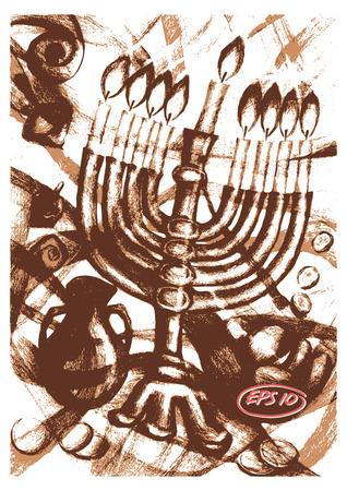 sienna: Vector graphic, artistic, stylized image of  cartoon, illustration of Jewish holiday of Hanukkah