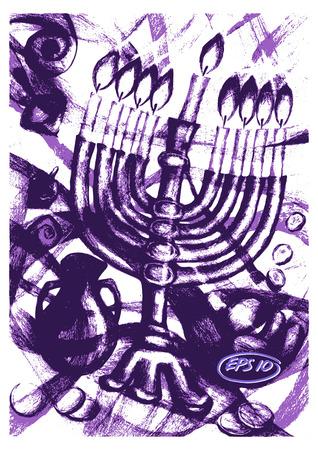 israel people: Vector graphic, artistic, stylized image of  cartoon, illustration of Jewish holiday of Hanukkah