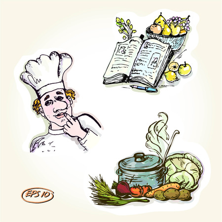 Vector graphic, artistic, set for design -Images cookbook and chef