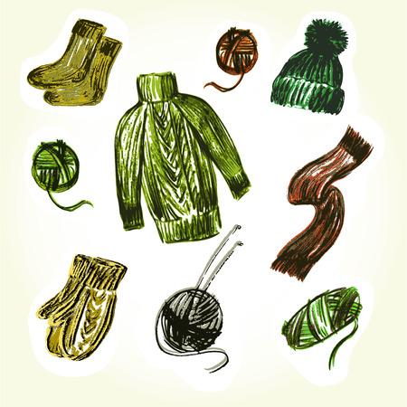 spokes: Vector gr�fico, art�stico, un conjunto de im�genes para el dise�o de las cosas y las bolas de hilo con radios de punto. sombrero y bufanda nitted, guantes y calcetines.