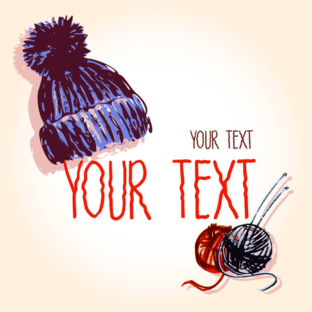 Vector graphic, artistic, set of images for the design knitted cap and skeins with spokes.