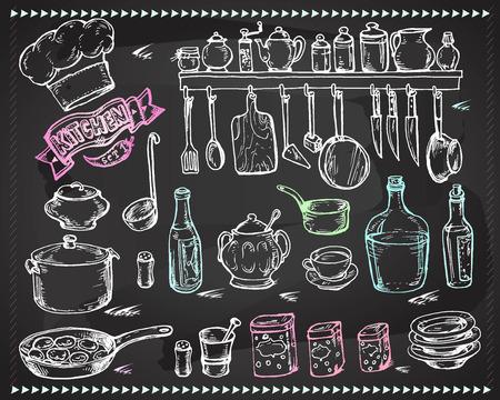 cuchillo de cocina: Vector gráfico, artístico, conjunto estilizado para el diseño de la cocina - un dibujo estilizado con tiza en una pizarra utensilios