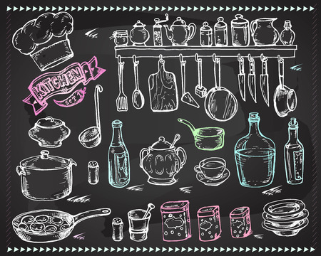 tables: Vector graphic, artistic, stylized set for design Kitchen - a stylized drawing with chalk on a blackboard utensils