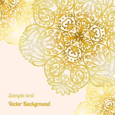 Romantic background delicate oriental watercolor with space for text. Decor design greeting cards, wedding invitations, marriage, bridal, birthday, Valentines day. Vector illustration. Circular pattern, mandala. Illustration