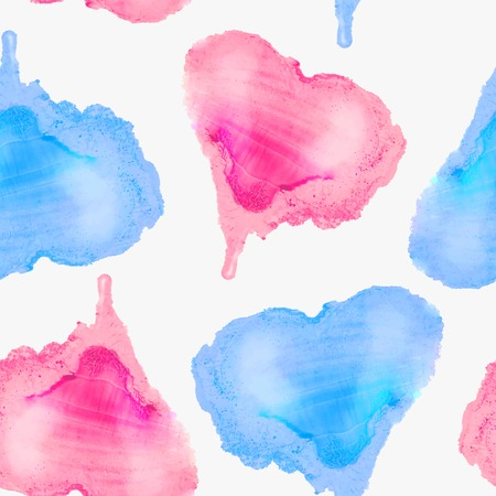 Vector graphics, artistic, stylized seamless pattern  background watercolor hearts. Pattern and  background are on separate layers.