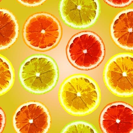 lemon lime: Brillante modello vettoriale senza soluzione di continuit� con le fette di immagine di limone, lime, arancio. Pu� essere usato per progettare tessuti, carta da parati, carta da imballaggio.