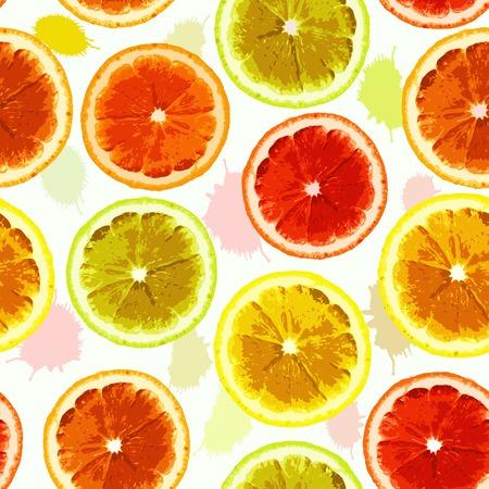 lemon lime: Brillante vector seamless immagine acquerello di limone, lime, arancio con. Pu� essere usato per progettare tessuti, carta da parati, carta da imballaggio.