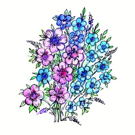 ramo de flores: Flores del ramo de la acuarela, ilustraci�n vectorial. Tarjetas de felicitaci�n de la decoraci�n de dise�o, invitaciones de boda, boda, nupcial, cumplea�os, d�a de San Valent�n, beb� reci�n nacido. Vectores