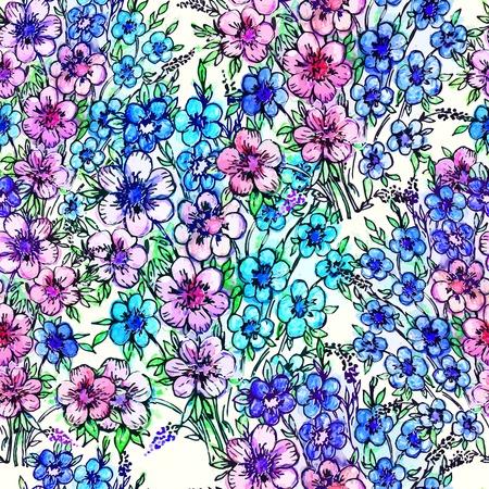 ramo de flores: Vector gr�fico, art�stico, imagen rom�ntica de fisuras Flores ramo patr�n acuarela sobre un fondo blanco. Puede ser utilizado para la tela patr�n de dise�o, papel pintado, papel de regalo