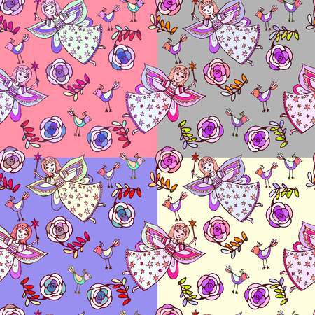 pixy: Set of Vector graphics, artistic, stylized  seamless pattern sketch illustration of  fairy with a magic wand with a bird and roses.