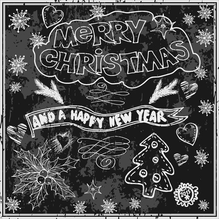 Vector graphic, artistic, stylized image of Hand Drawn Christmas Card  on Chalkboard. Chalk lettering. Vector