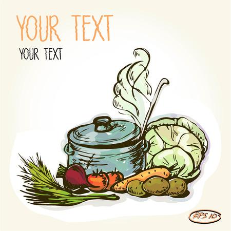 뜨거운 수프와 야채, 요리 재료의 냄비의 벡터 그래픽, 예술, 스타일 화 된 이미지