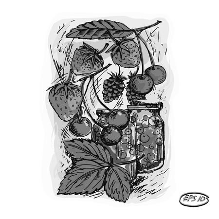 canning: Vector graphics, artwork, stylized image banks with jam, compote. Image of cherries, strawberries, raspberries.