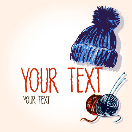 Vector graphic, artistic, set of images for the design knitted cap and skeins with spokes. Vector