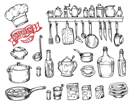 Vector graphic, artistic, stylized set for design Kitchen - kitchen objects