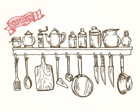 utensils: Vector graphic, artistic, stylized shelf with utensils.