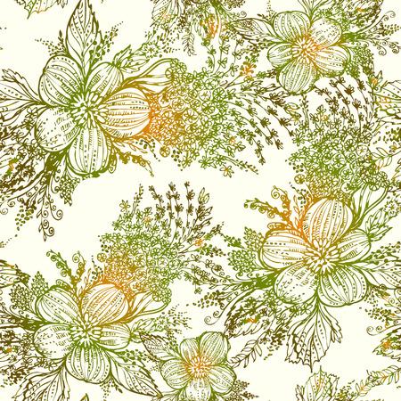 dessin au trait: Les graphiques vectoriels, artistique, stylis� seamless fond aquarelle avec des fleurs et des feuilles. Motif et le fond sont sur des calques s�par�s.