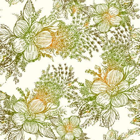 outline drawing: Vector graphics, artistic, stylized seamless pattern  background watercolor with flowers and leaves. Pattern and  background are on separate layers.
